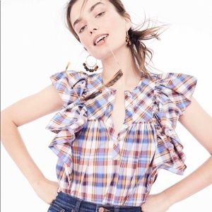 J. Crew Ruffle Top in Vintage Plaid 00